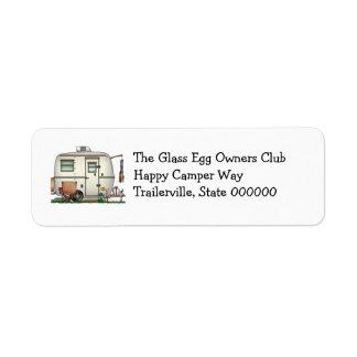 Cute RV Vintage Glass Egg Camper Travel Trailer Return Address Label