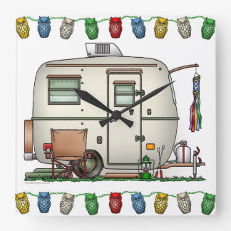 Cute RV Vintage Glass Egg Camper Travel Trailer Square Wall Clock