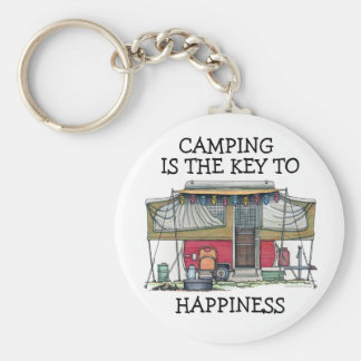Cute RV Vintage Popup Camper Travel Trailer Basic Round Button Keychain