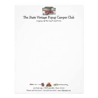 Cute RV Vintage Popup Camper Travel Trailer Customized Letterhead