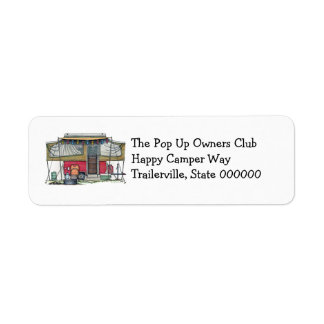 Cute RV Vintage Popup Camper Travel Trailer Return Address Label