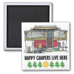 Cute RV Vintage Popup Camper Travel Trailer Square Magnet
