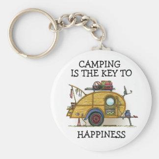 Cute RV Vintage Teardrop  Camper Travel Trailer Basic Round Button Keychain
