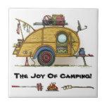 Cute RV Vintage Teardrop  Camper Travel Trailer Ceramic Tile