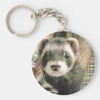 Cute Sable Ferret Basic Round Button Keychain