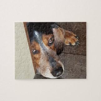 Cute Sad Beagle Puppy Dog Breed Face Photo Jigsaw Puzzle