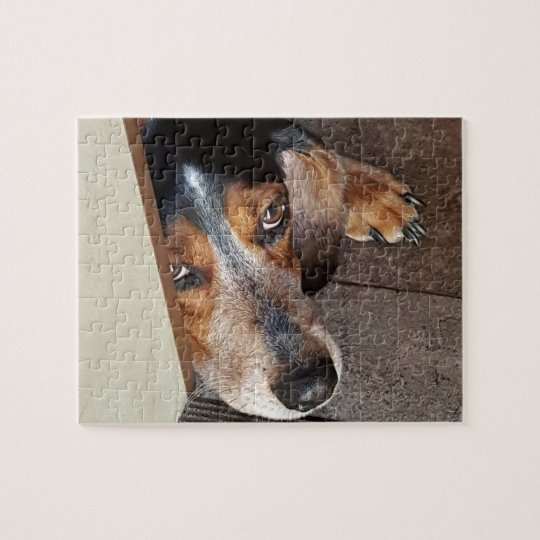 Cute Sad Beagle Puppy Dog Breed Face Photo Jigsaw Puzzle