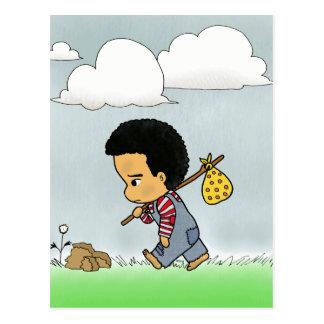 Cute sad boy postcard