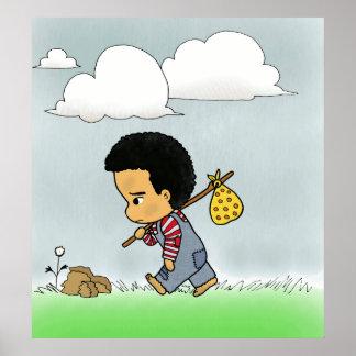 Cute sad boy poster