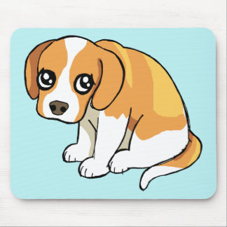 Cute Sad Brown Beagle Puppy Dog Drawing Mouse Pad