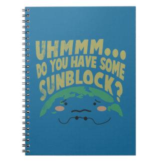 Cute Sad Earth Wanting a Sunblock Notebooks