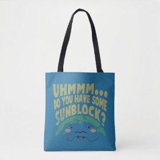 Cute Sad Earth Wanting a Sunblock Tote Bag