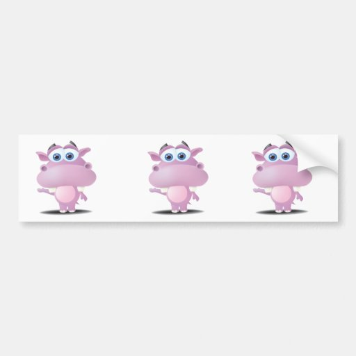cute sad little hippo bumper sticker