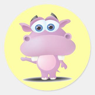 cute sad little hippo round sticker