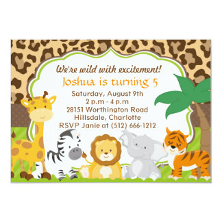 Cute Safari Animal Invitation