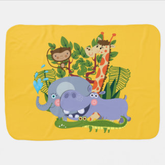 Cute Safari Animals Baby Blanket