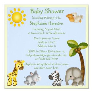 """Cute Safari Animals Baby Shower 5.25"""" Square Invitation Card"""