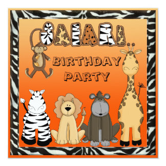 Cute Safari Animals Birthday Party Card