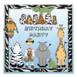 Cute Safari Animals Birthday Party Custom Announcement