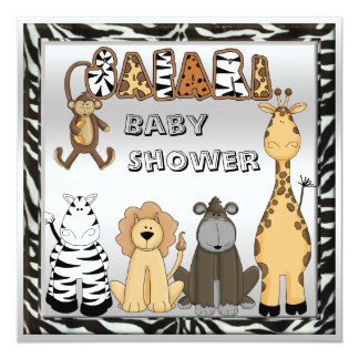 Cute Safari Animals Neutral Silver Baby Shower Card