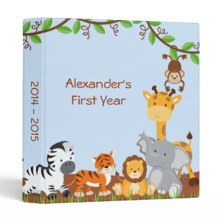 Cute Safari Jungle Animal Baby Boy Photo Album Binders