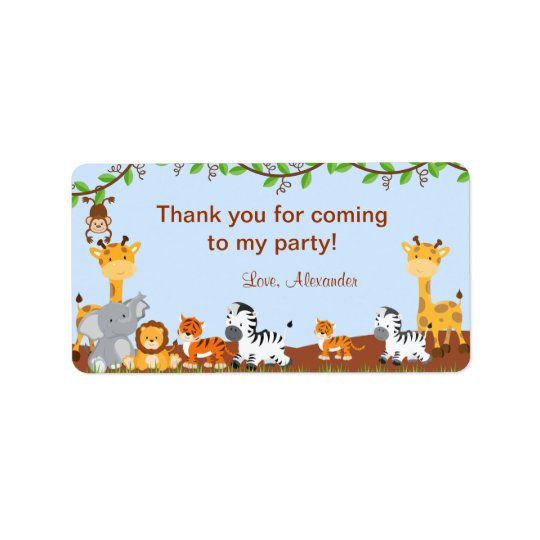 Cute Safari Jungle Animal Birthday Favour Tags