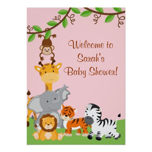 Cute Safari Jungle Animals Baby Girl Shower Poster Posters