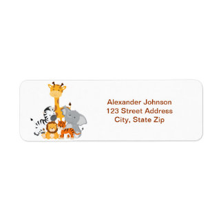 Cute Safari Jungle Baby Animals Return Address