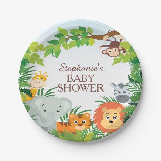 "Cute Safari Jungle Baby Shower 7"" Plate 7 Inch Paper Plate"