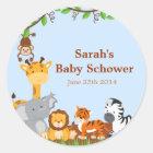Cute Safari Jungle Baby Shower Stickers