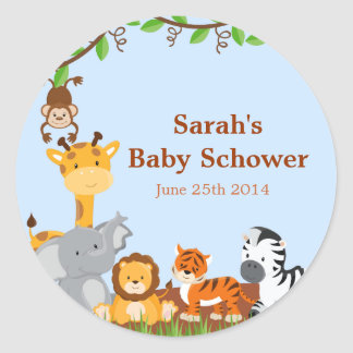 Cute Safari Jungle Baby Shower Stickers