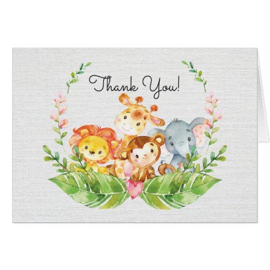 Cute Safari Jungle Baby Shower Thank You Note Card