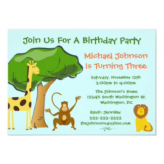 "Cute Safari Jungle Zoo Animals Kids Birthday Party 5"" X 7"" Invitation Card"
