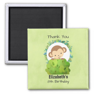 Cute Safari Monkey Birthday Thanks Square Magnet