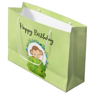Cute Safari Monkey Happy Birthday Large Gift Bag