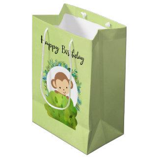 Cute Safari Monkey Happy Birthday Medium Gift Bag