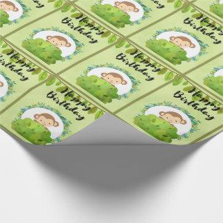 Cute Safari Monkey Happy Birthday Pattern Wrapping Paper