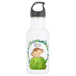 Cute Safari Monkey Hello 532 Ml Water Bottle