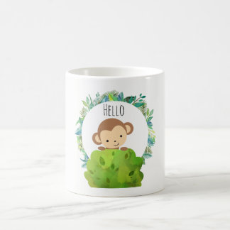 Cute Safari Monkey Hello Coffee Mug