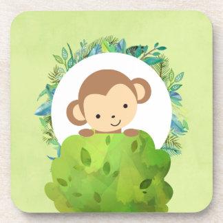 Cute Safari Monkey with Tropical Leaves Coaster