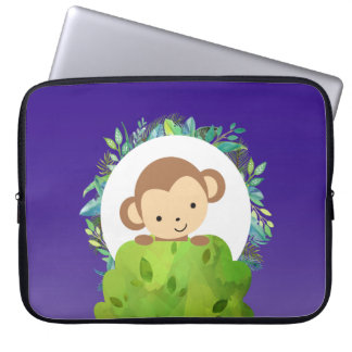 Cute Safari Monkey with Tropical Leaves Laptop Sleeve