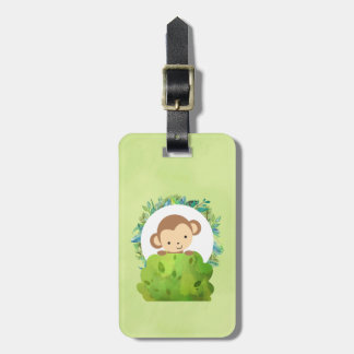 Cute Safari Monkey with Tropical Leaves Luggage Tag