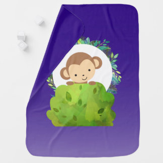 Cute Safari Monkey with Tropical Leaves on Purple Baby Blanket