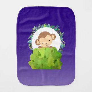 Cute Safari Monkey with Tropical Leaves on Purple Burp Cloth