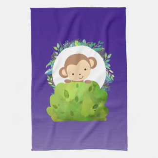 Cute Safari Monkey with Tropical Leaves on Purple Kitchen Towel