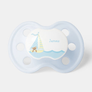 Cute Sailboat Bear Personalized Pacifiers