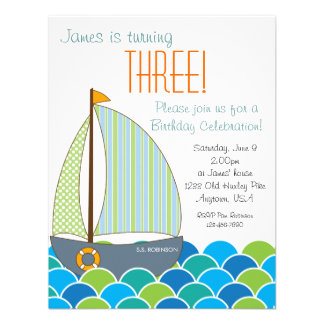 Cute Sailboat Birthday Invitation - Boy