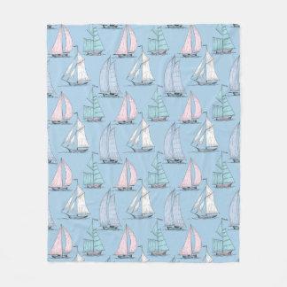 Cute Sailboat Pattern 1 2 Fleece Blanket