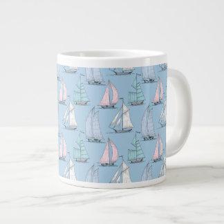 Cute Sailboat Pattern 1 Giant Coffee Mug
