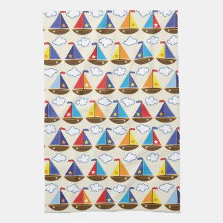 Cute Sailboat Pattern 2 Kitchen Towel